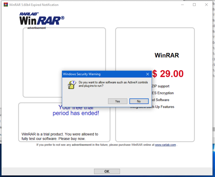 WinRAR showing ActiveX warning